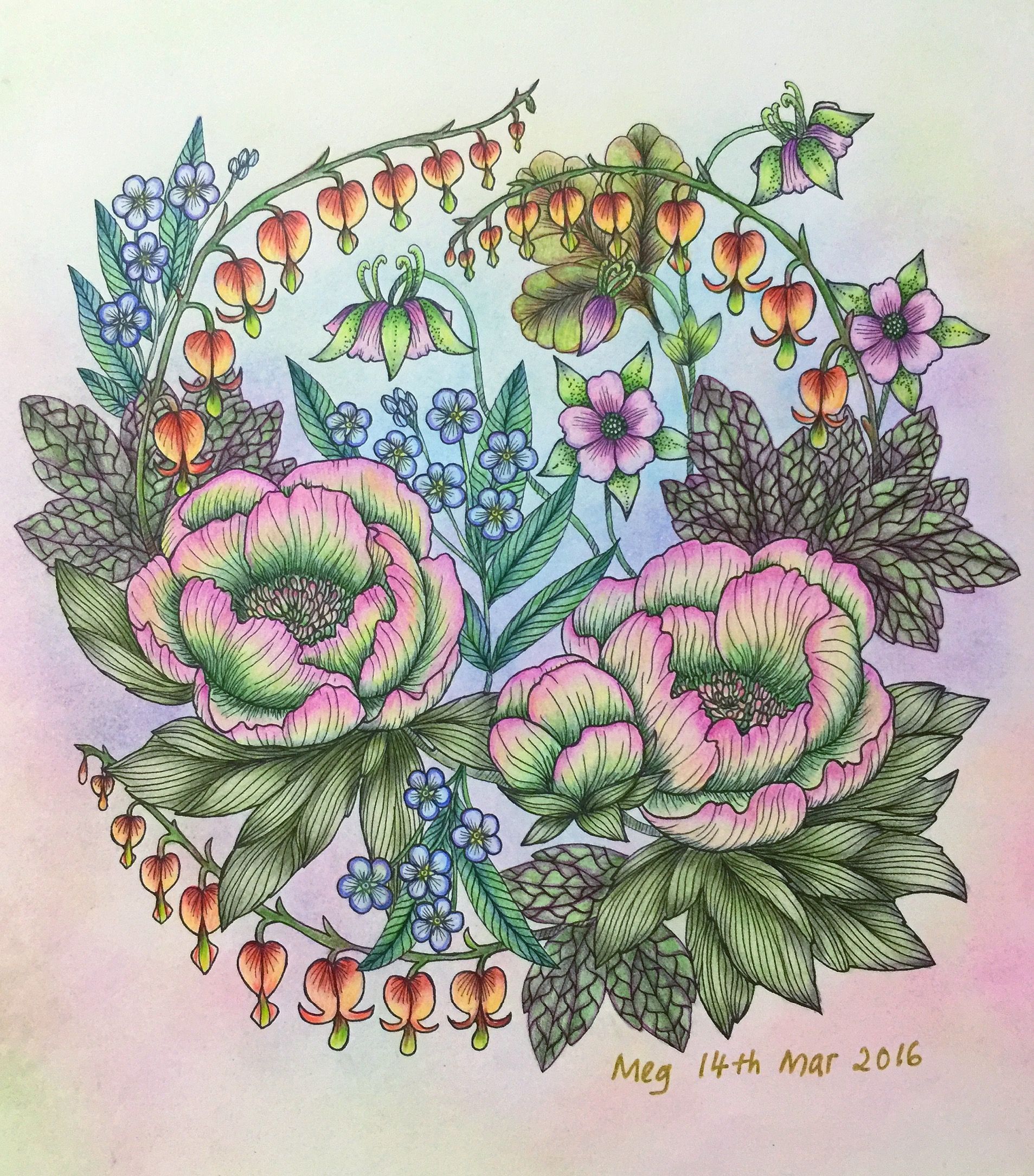No 3 Completed Blomstermandala Mariatrolle Color Drawing Art Coloring Books Colorful Art