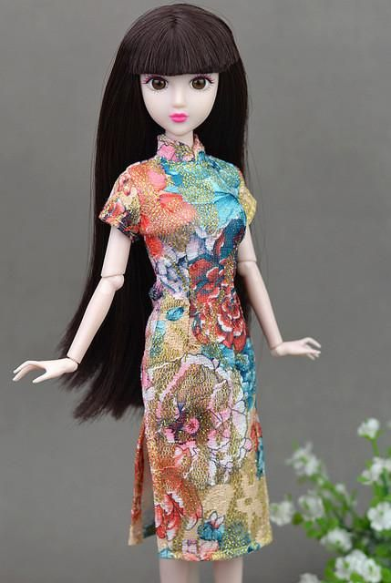 High Quality Doll Accessories Handmade Unique Dress Clothes For Barbie  Chinese Traditional Dress Cheongsam Qipao Evening Dresses f14e9048a5c9