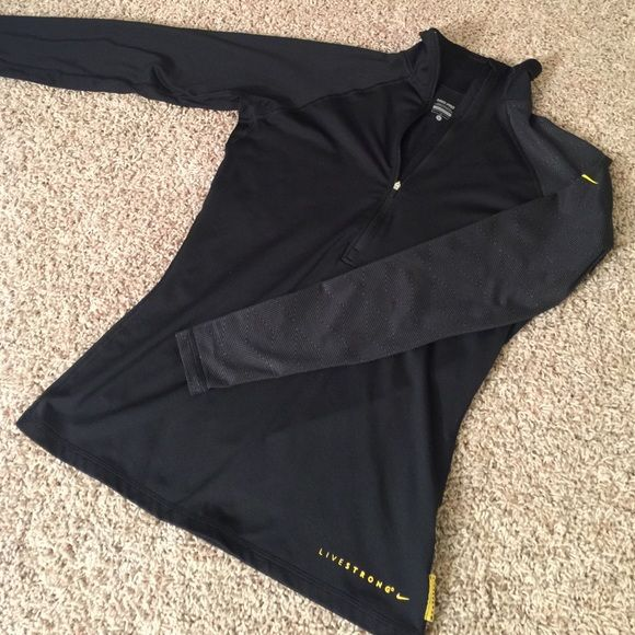 Nike DriFit Livestrong Pullover Black Nike Livestrong Quarterzip pullover. One sleeve is an awesome pattern. Thumb holes! Size Large but fits like a Tight Medium or Loose Small. Nike Tops