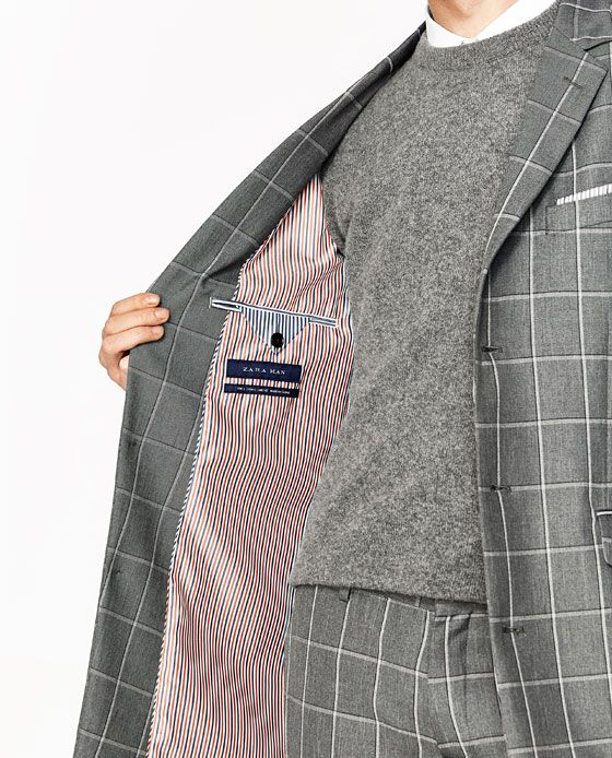 Image 5 of GREY CHECKED FROCK COAT from Zara