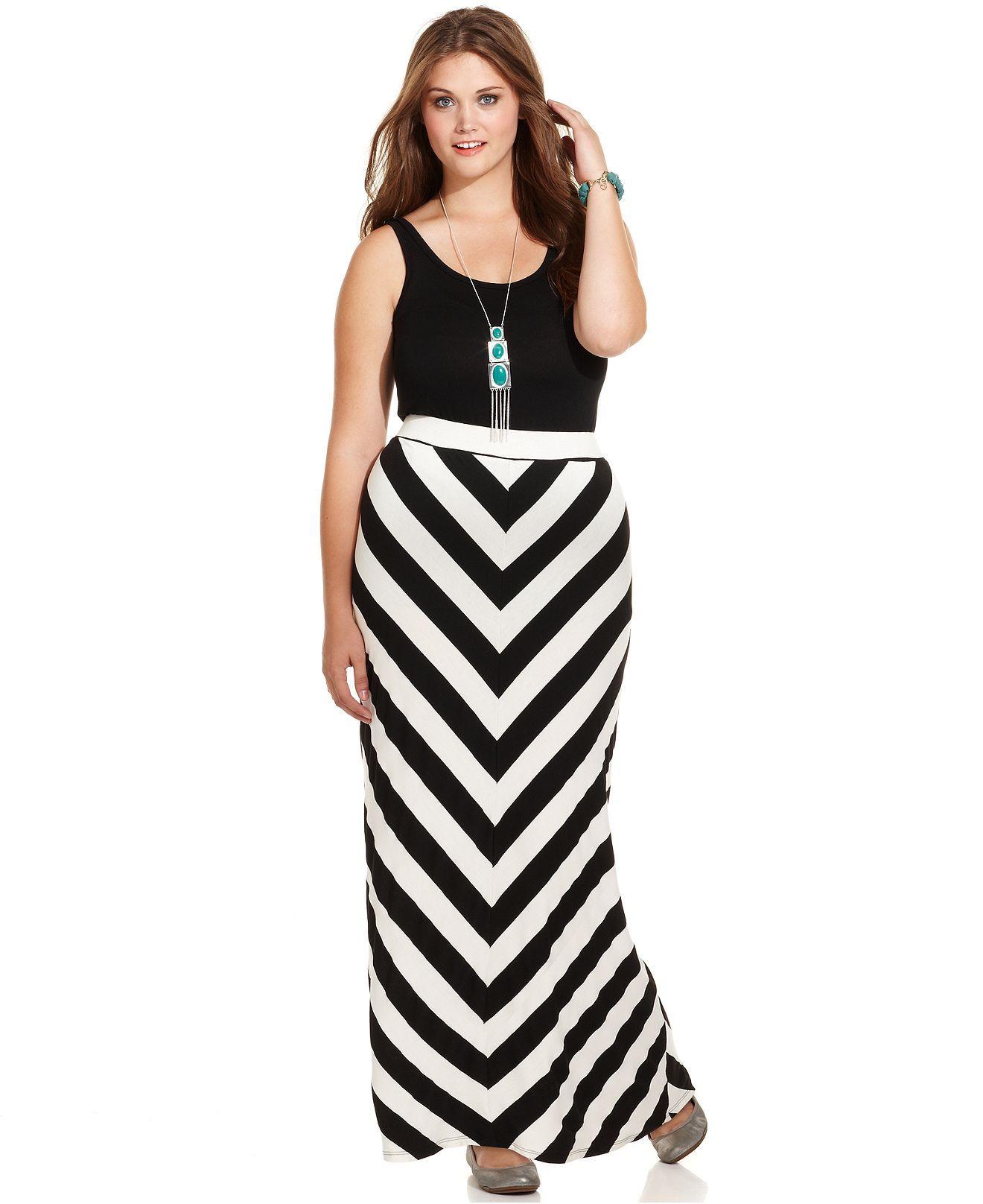 American Rag Plus Size Skirt, Chevron-Print Maxi - Plus ...