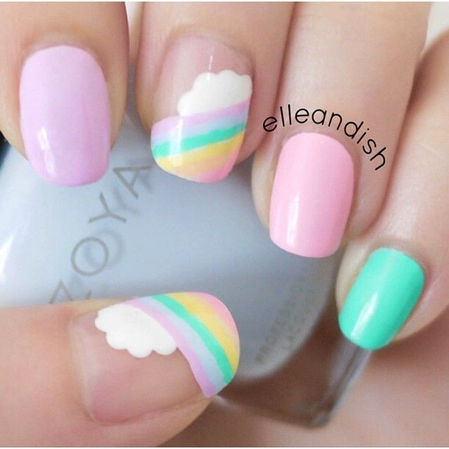 Easy Cloud Rainbow Nails nail art by elleandish - 23 Designs To Get Inspired For Painting Pastel Nails Pastel