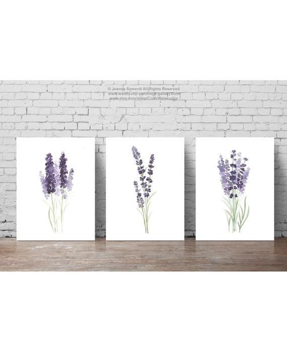 Lavender Flower Painting Canvas Botanical Print Kitchen Wall Decoration Purple And Green Set Of 3 Lavender Art Prints Minimalist Watercolour Flower Painting Canvas Minimalist Watercolor Flower Painting