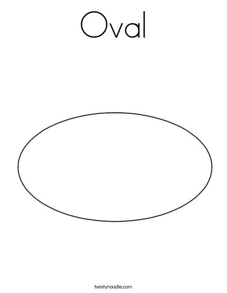 Oval Coloring Page From Twistynoodle Com Shapes Preschool