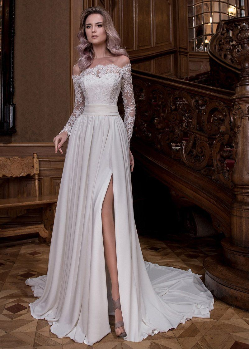 Wedding Dresses Simple, Fabulous Tulle & Satin Chiffon Off-the-shoulder Neckline A-line Wedding Dresses With Slit & Beaded Lace Appliques Midi Bridal Uk
