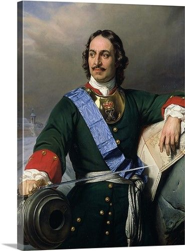 1672 1725 Solid-Faced Canvas Print Wall Art entitled Peter I the Great 1838