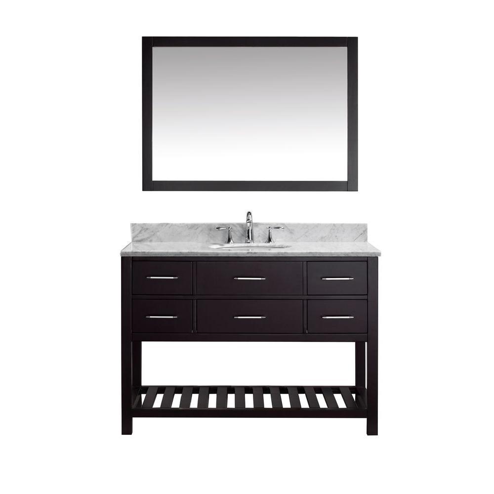 Virtu Usa Caroline Estate 48 Inw X 36 Inh Vanity With Marble Amusing White Bathroom Vanity Home Depot Design Inspiration