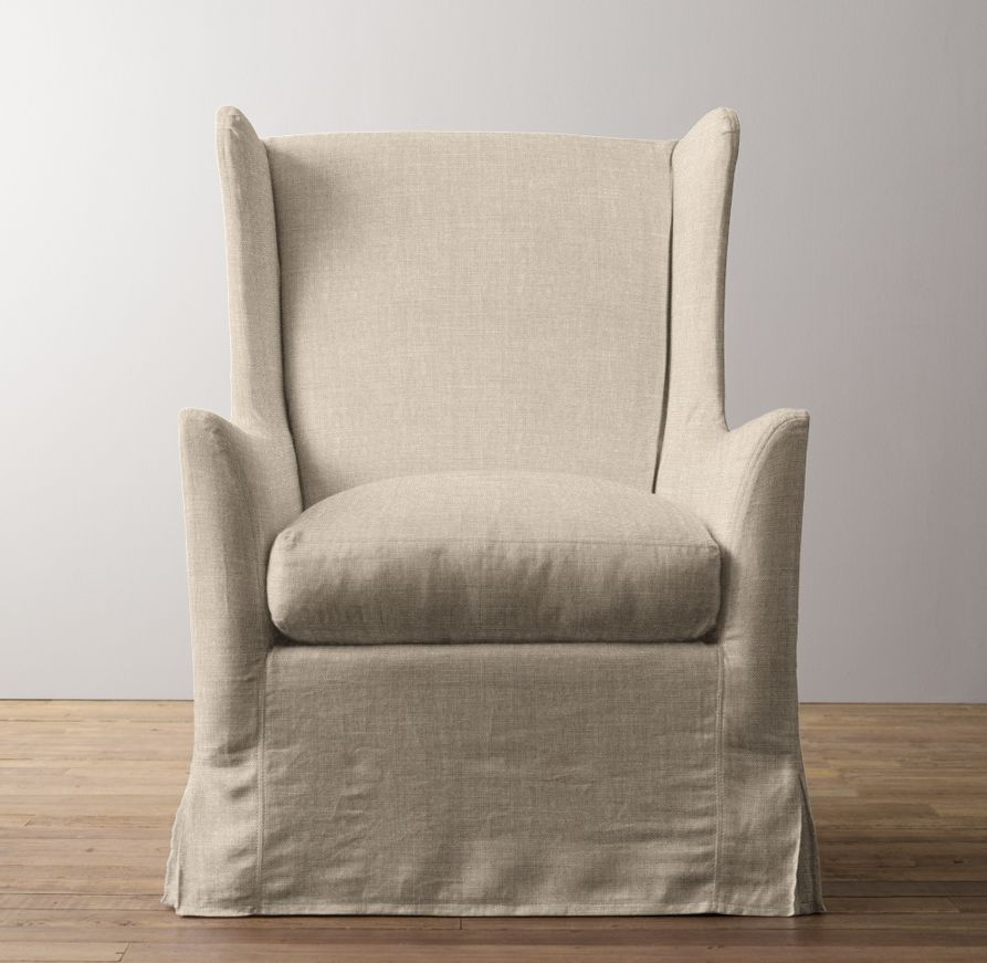 Wingback Swivel Glider With Slipcover Baby Base Nursery