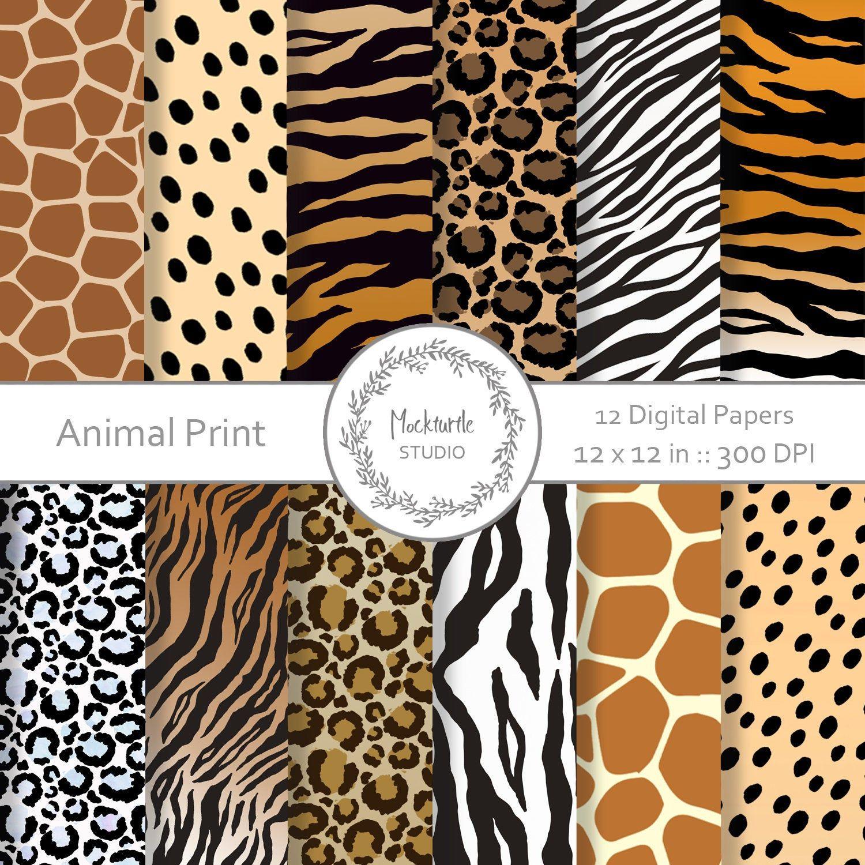 Animal Print Digital Paper Animal Skin Clipart Scrapbook Paper Animal Skin Digital Paper Safari Animal Paper Animals Digital Paper Glitter Digital Paper