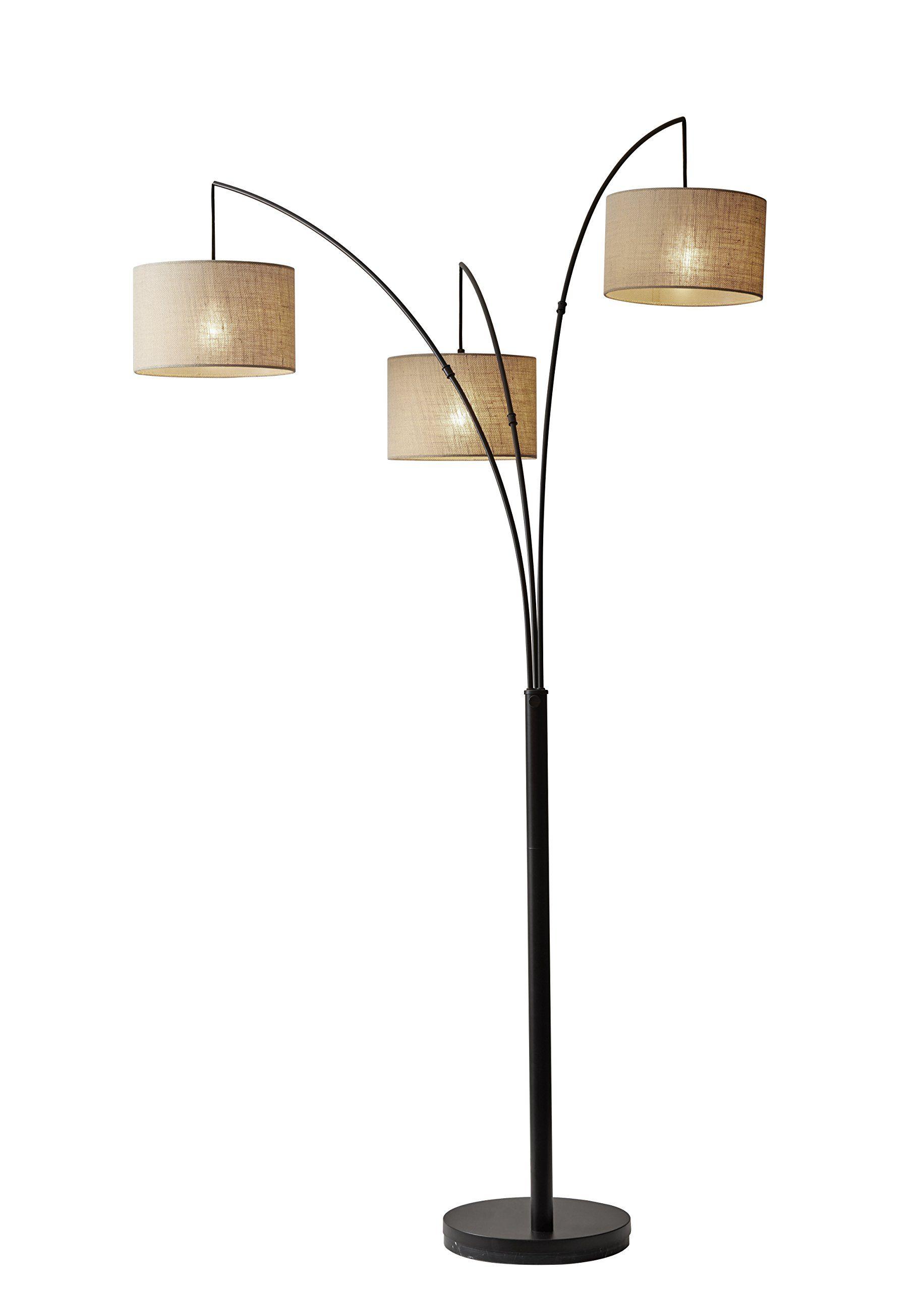 Adesso 423826 Trinity Arc Floor Lamp 226 82 Inch Antique Bronze Finish Beige Burlap Lamp Home