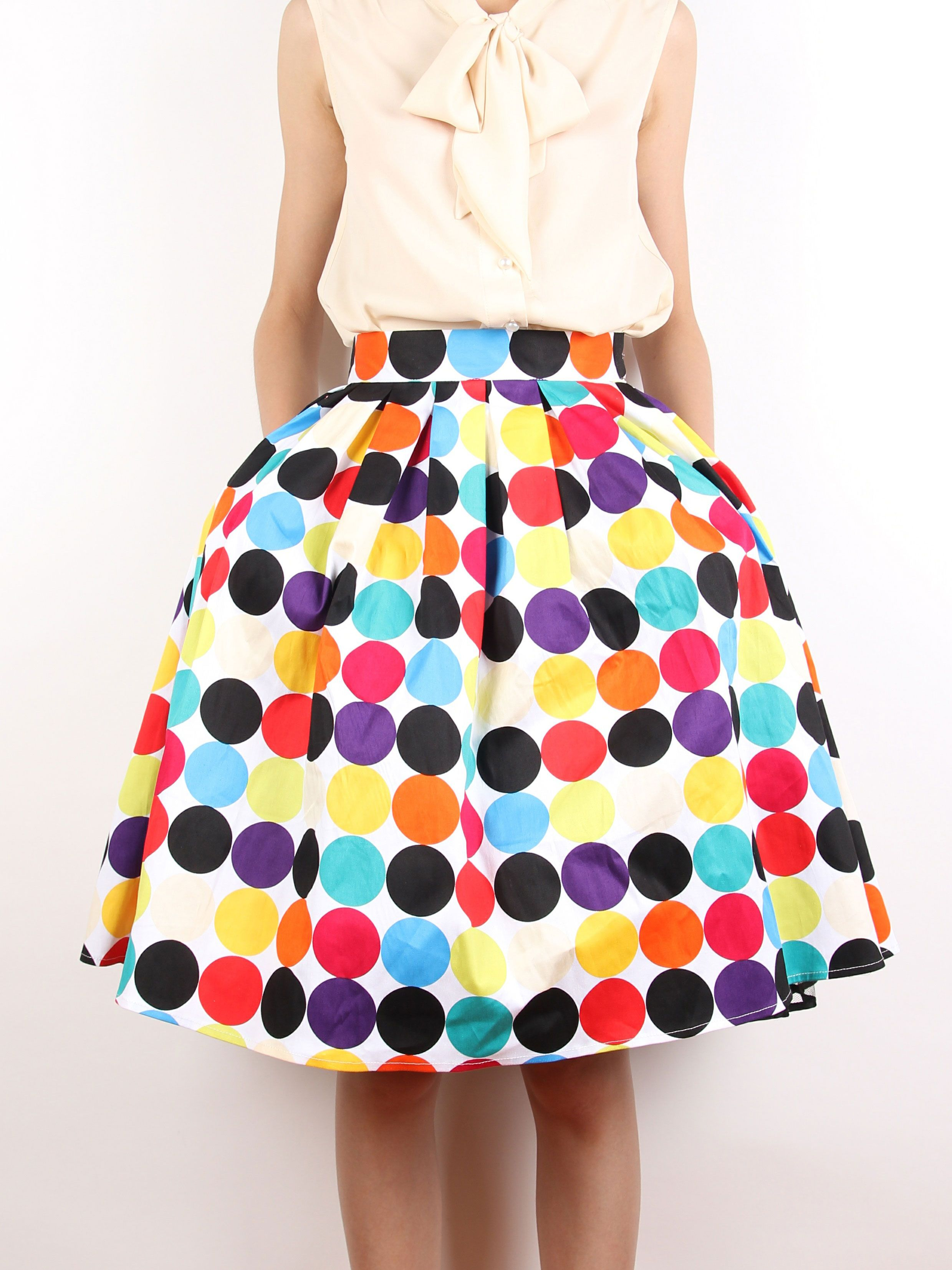 Choies Limited Edition Multi Polka Dot Print High Waist Skate Skirt