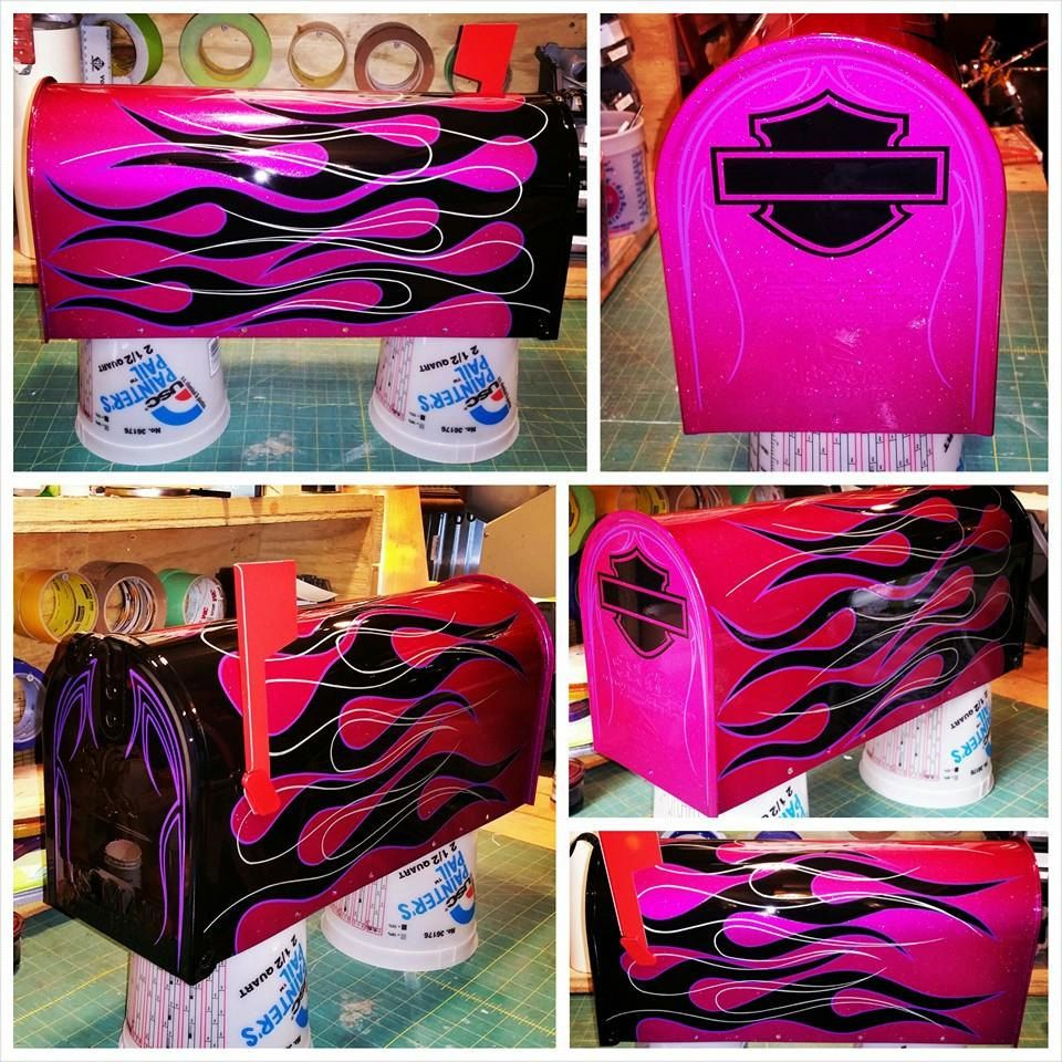 "custom painted mailbox harley davidson ""ready to ship"""