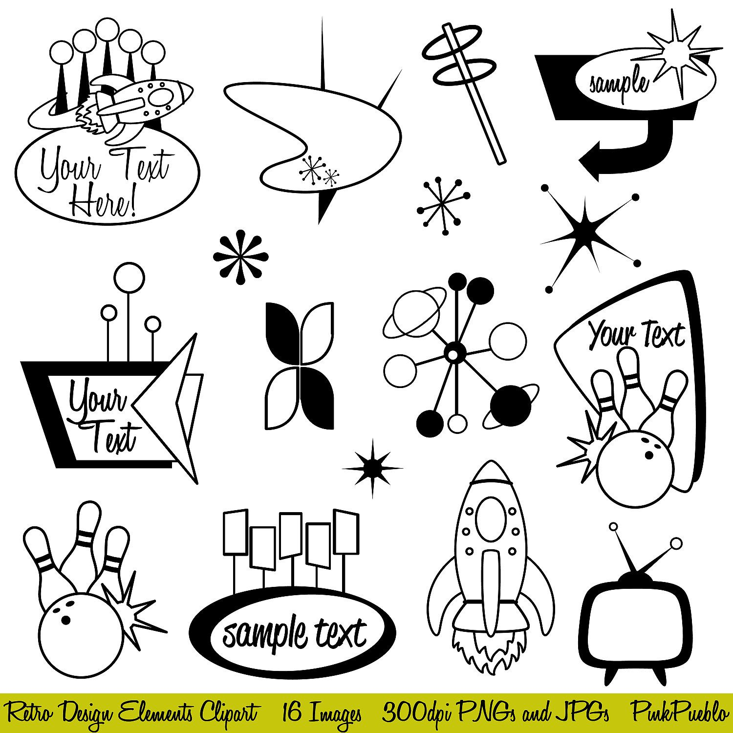 Clip Art Retro Clipart retro clipart clip art mod or vintage commercial and personal use graphics design