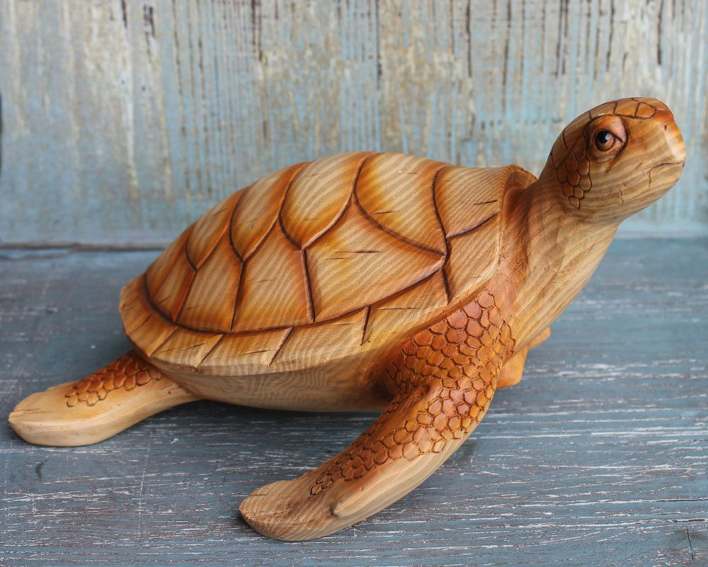 Ornate Sea Turtle  Sculpture Hand Carved Fish Bone Statue Home Decor