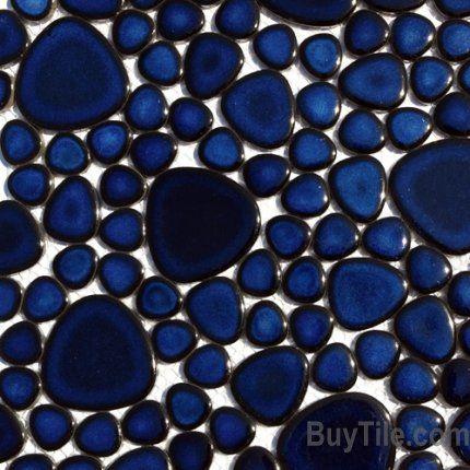 M451 Cobalt Blue Pebble Mosaic 9 38 Sf Supah Fish Tiles Pebblestone This Is Not