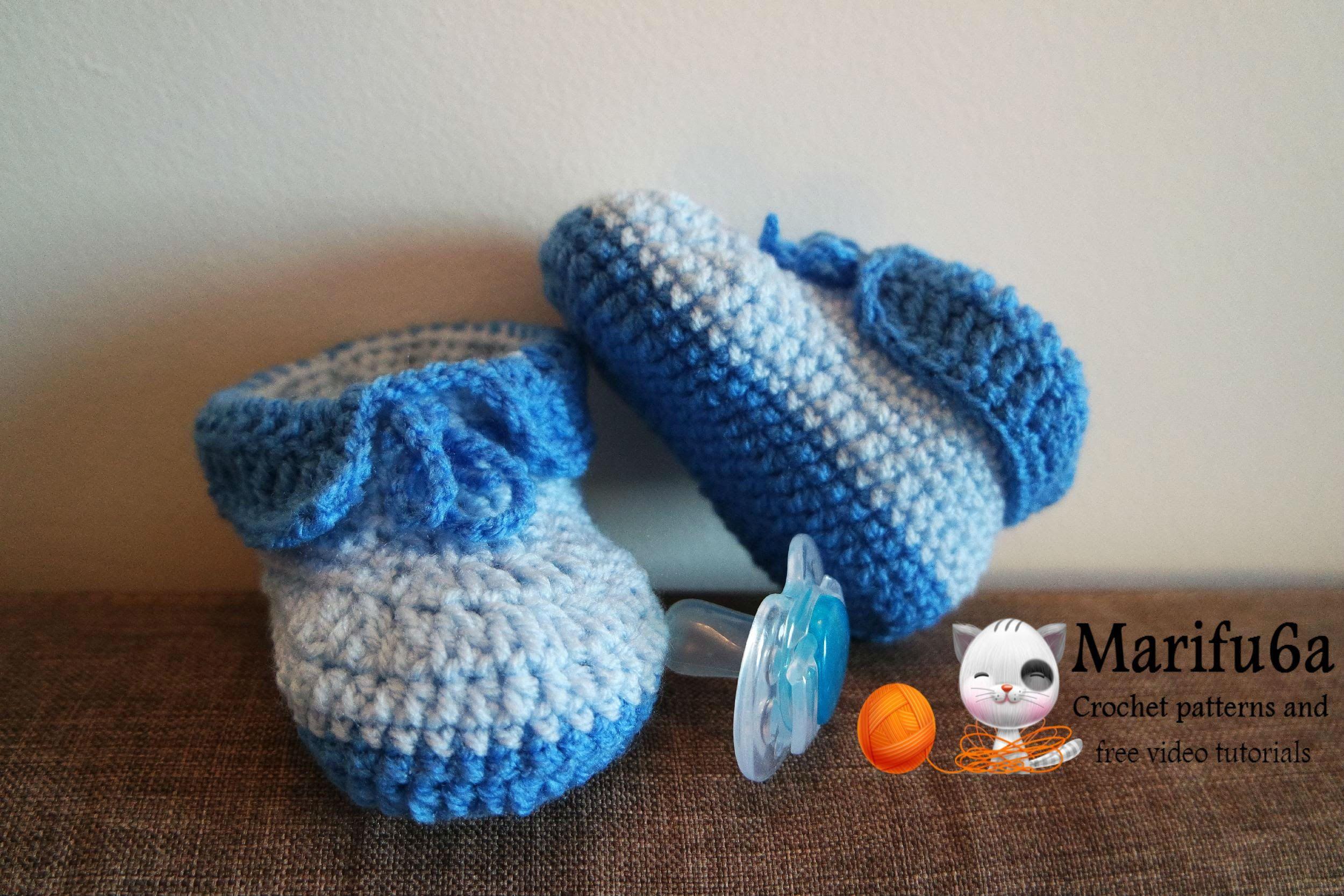 992ebc6baa239 How to crochet easy baby booties full free pattern | Crochet Booties ...