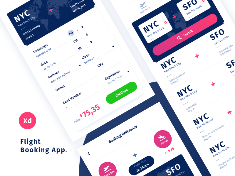 Airport App Challenge Free Adobe Xd Template Booking App Flight Booking App App
