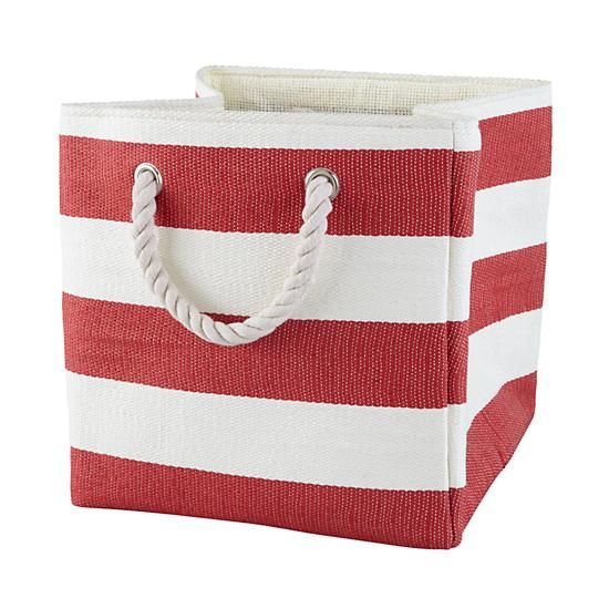 Red Stripes Around The Cube Bin 12 95 11x11 Stripes Kids Storage Crate And Barrel