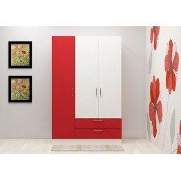 Wardrobe With Red And White Color Combination Makes The Product Look Adorning 3 Door 2 Drawers Astonishing