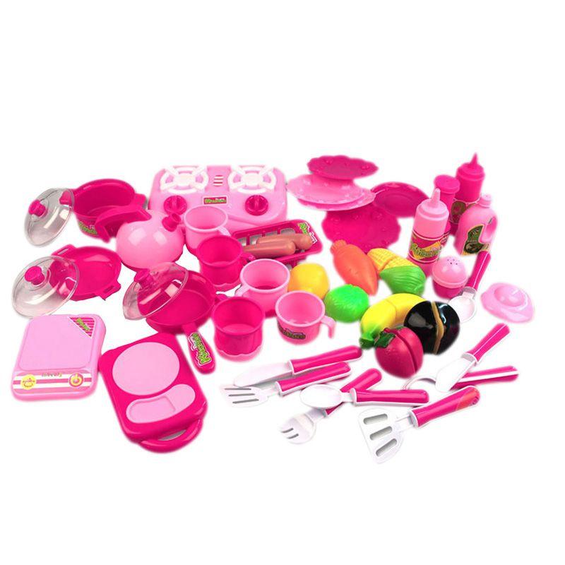 40 teile/satz küche toys rosa küche lebensmittel kochen rolle play ...
