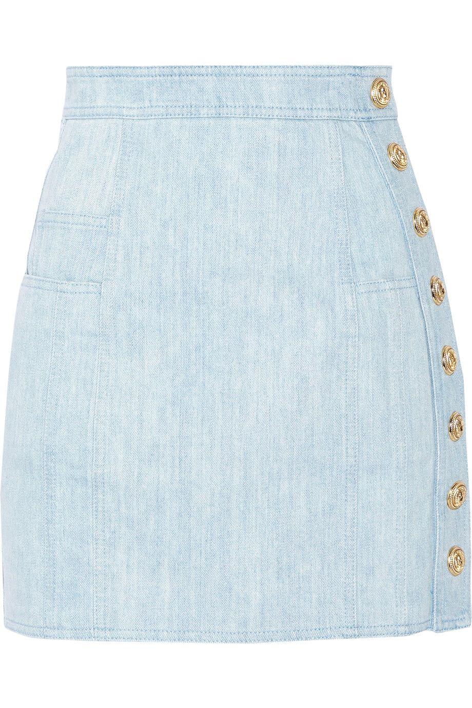 795e9ed682 Balmain - Button-detailed denim mini skirt | Sewing Inspiration ...