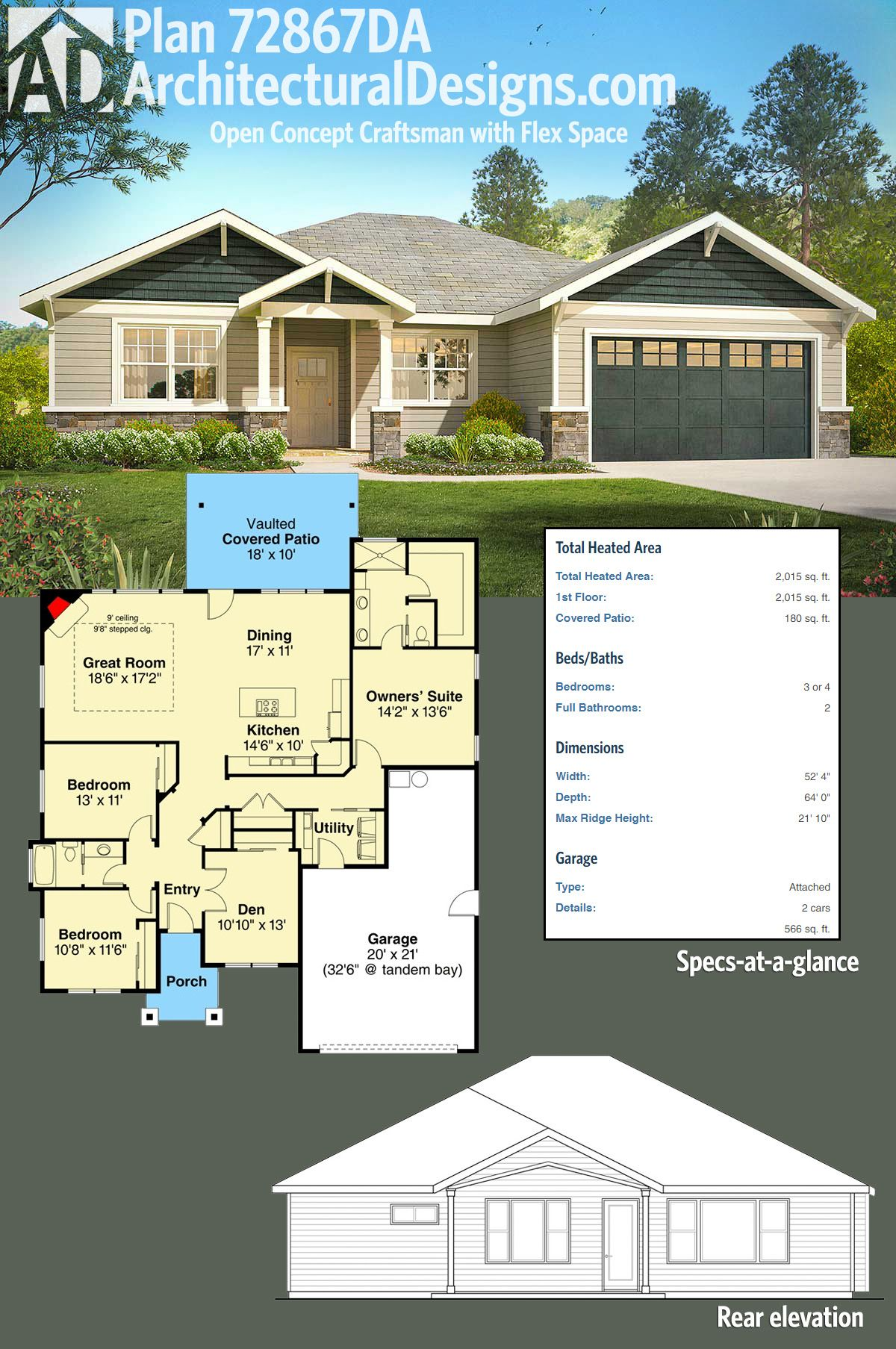 Plan 72867da Open Concept Craftsman With Flex Space