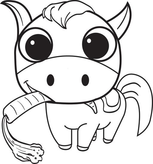 Cute Cartoon Horse Coloring Pages - Coloring And Drawing