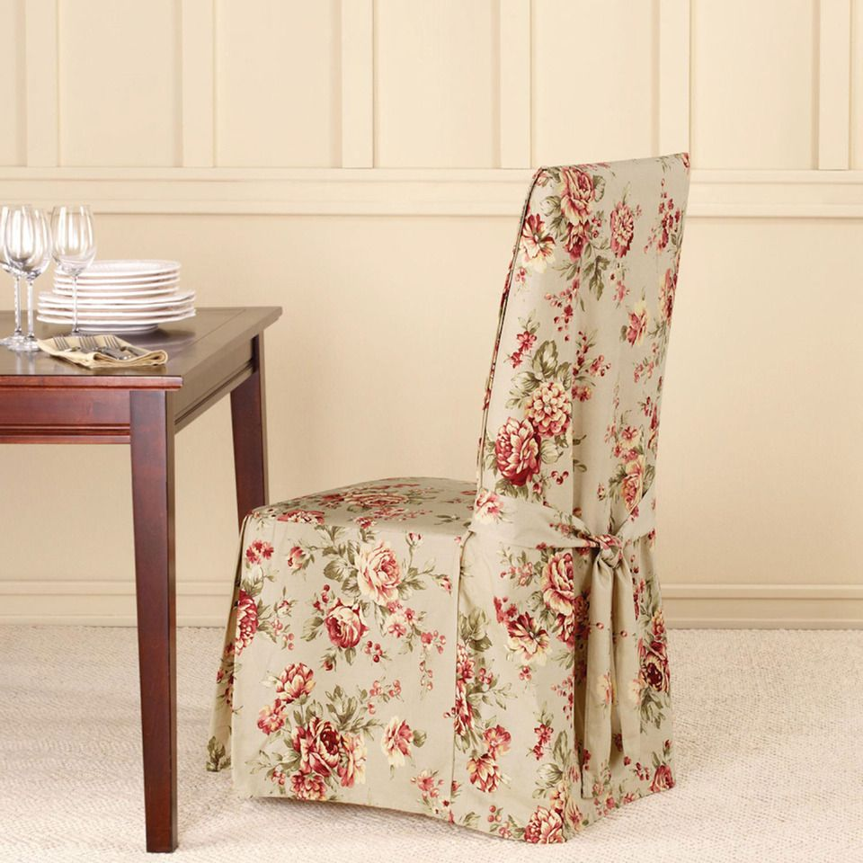 Floral Dining Room Chairs: Floral Dining Chair Slipcover.