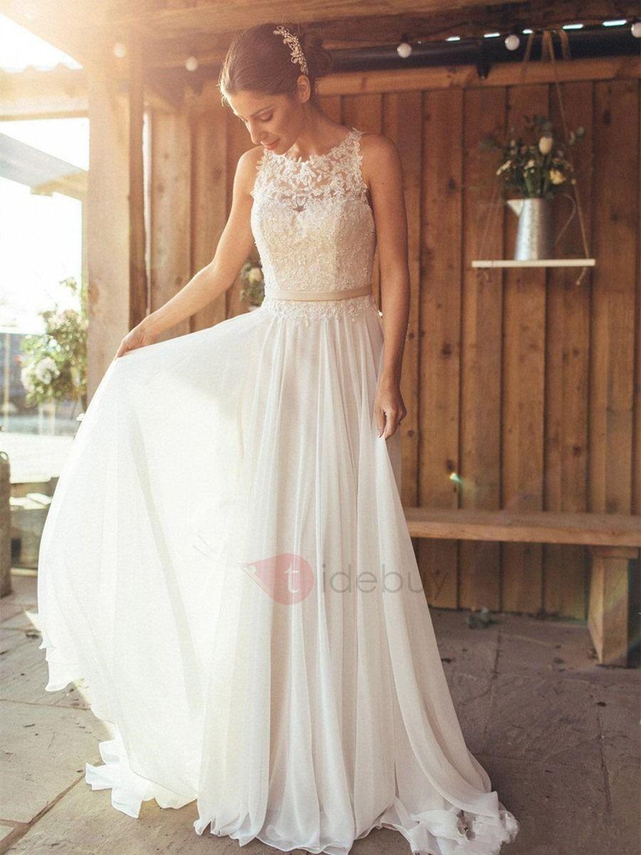 Charming scoop neck appliques button beach wedding dress beach
