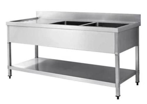 £309 1-6M-COMMERCIAL-STAINLESS-STEEL-LHD-DOUBLE-BOWL-SINK-600-SERIES-EX-DEMO