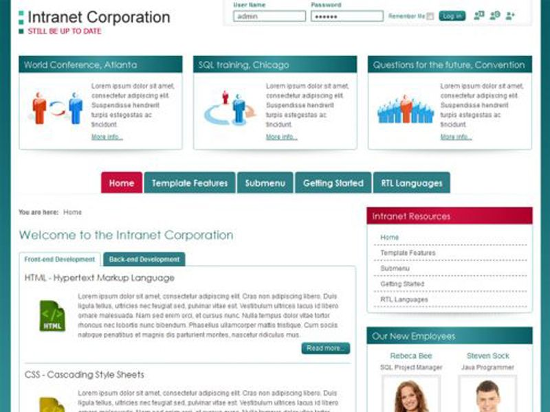 JM Intranet Corporation Free Joomla Company Template layout is ...