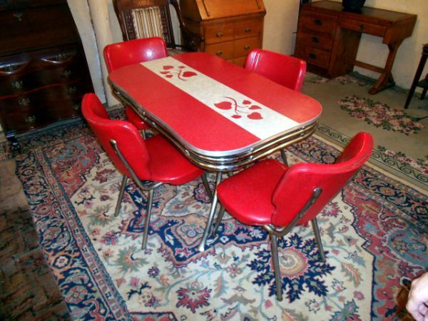 red chrome table chairs | Vintage kitchen table, Retro ...