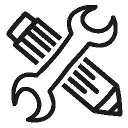 Configuraci N S Mbolo De Interfaz Dibujado A Mano De Herramientas Un L Piz Y Una Llave Inglesa En Cruz Llave Dibujo Llaves Manos Dibujo