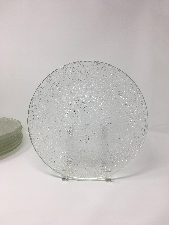 Set 6 Indiana Glass Crystal Ice Dinner Plates Set Glass Dishes Glass Dinner Set Clear Glass Plates Moder Clear Glass Plates Indiana Glass Modern Dinnerware