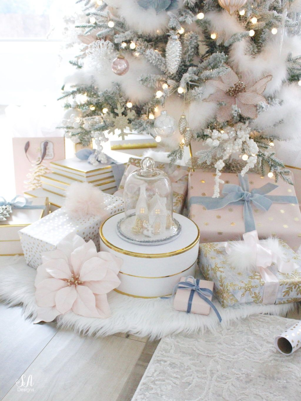 Whimsical Glam Christmas Living Room In Pastels Summer Adams Nutcracker Christmas Tree Pastel Christmas Decor Pink Christmas Decorations