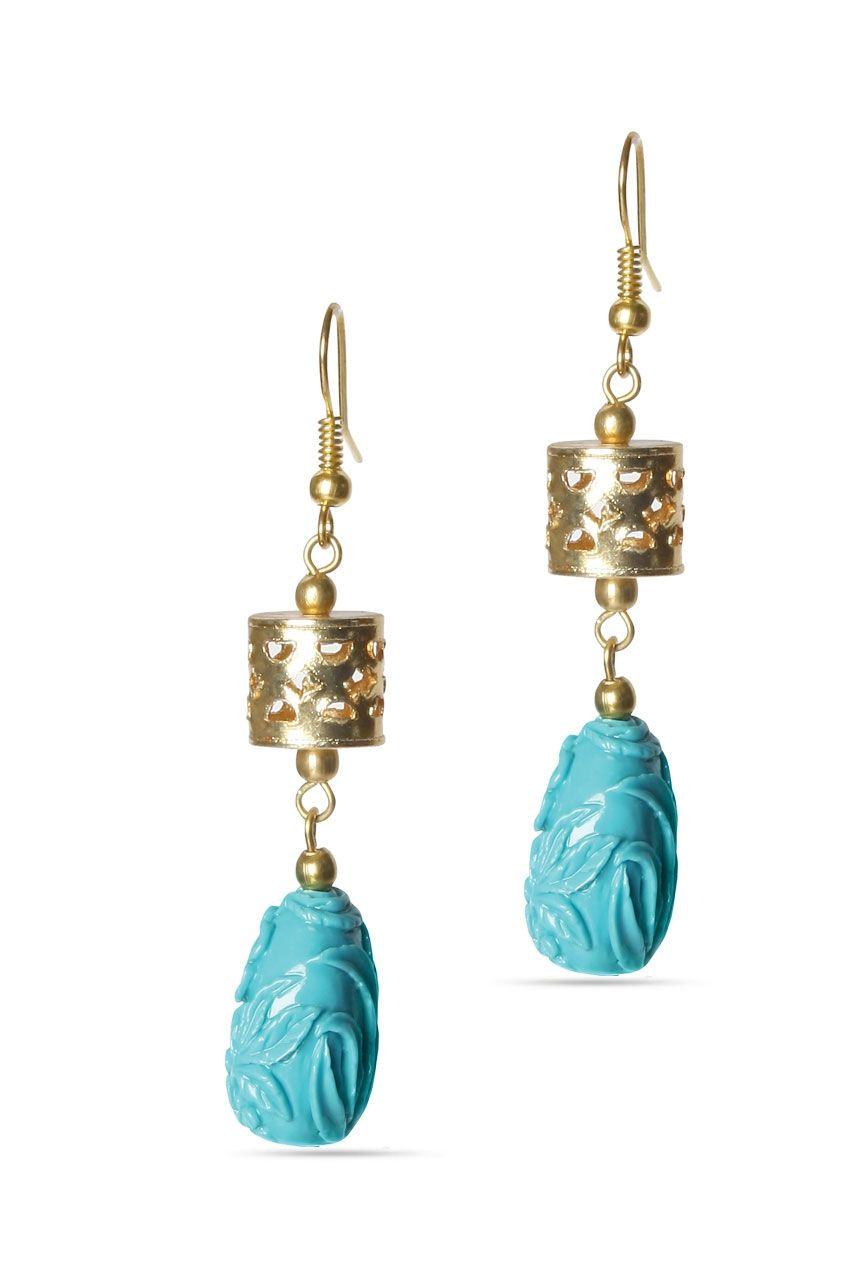 Trendy Turq Earrings Rs. 875/- http://www.juvalia.in/collection/00-s-the-girl-next-door/trendy-turq-earrings.html