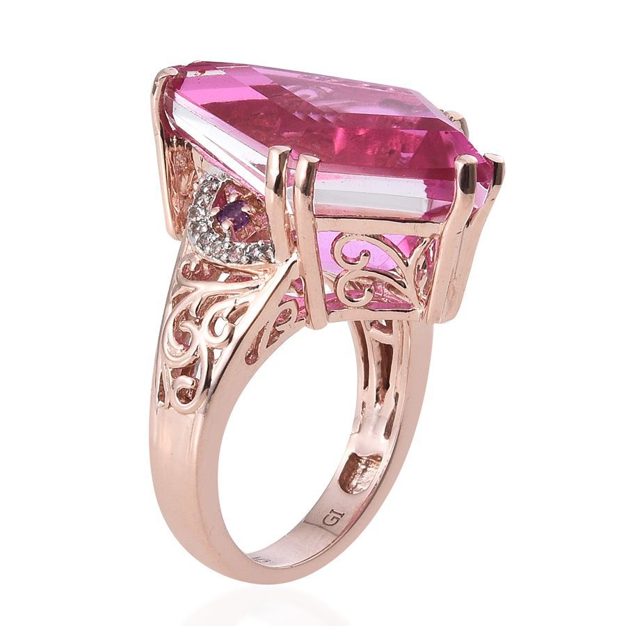Go Fly a Kite SUGAR by Gay Isber Radiant Orchid Quartz, White Topaz, Amethyst Ring in 14K RG Overlay Sterling Silver Nickel Free (Size 7.0) TGW 15.460 cts.