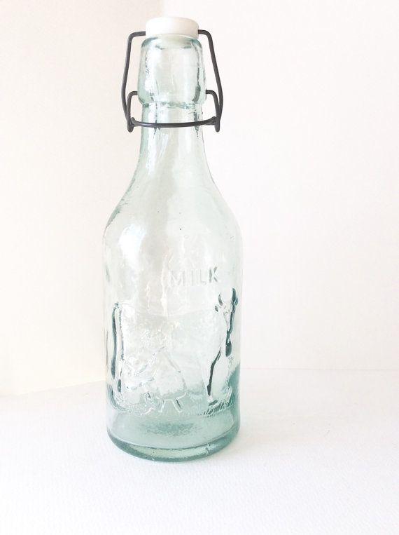 Vintage Glass Milk Bottle Absolutely Pure Glass Milk Bottles