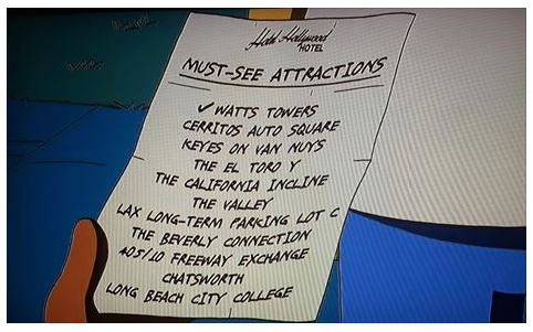 Homer Simpson's list of Southern California's must-see attractions.