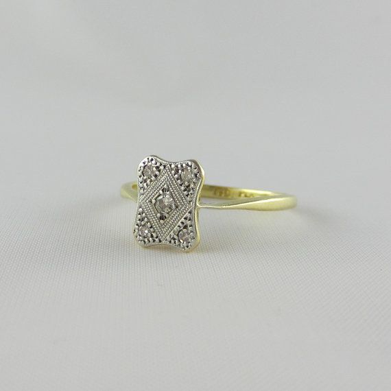 Stunning Edwardian Rectangle Diamond Ring Platinum & by Addy