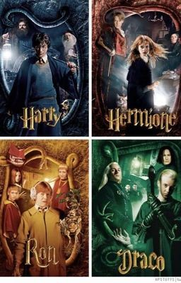 Harry Potter, Hermione Granger, Ron Weasley and Draco Malfoy in The Chamber of Secrets