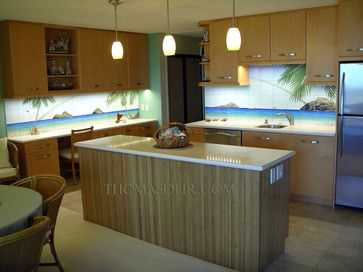 awesome! tropical themed back splash kitchen | 29,275 ...