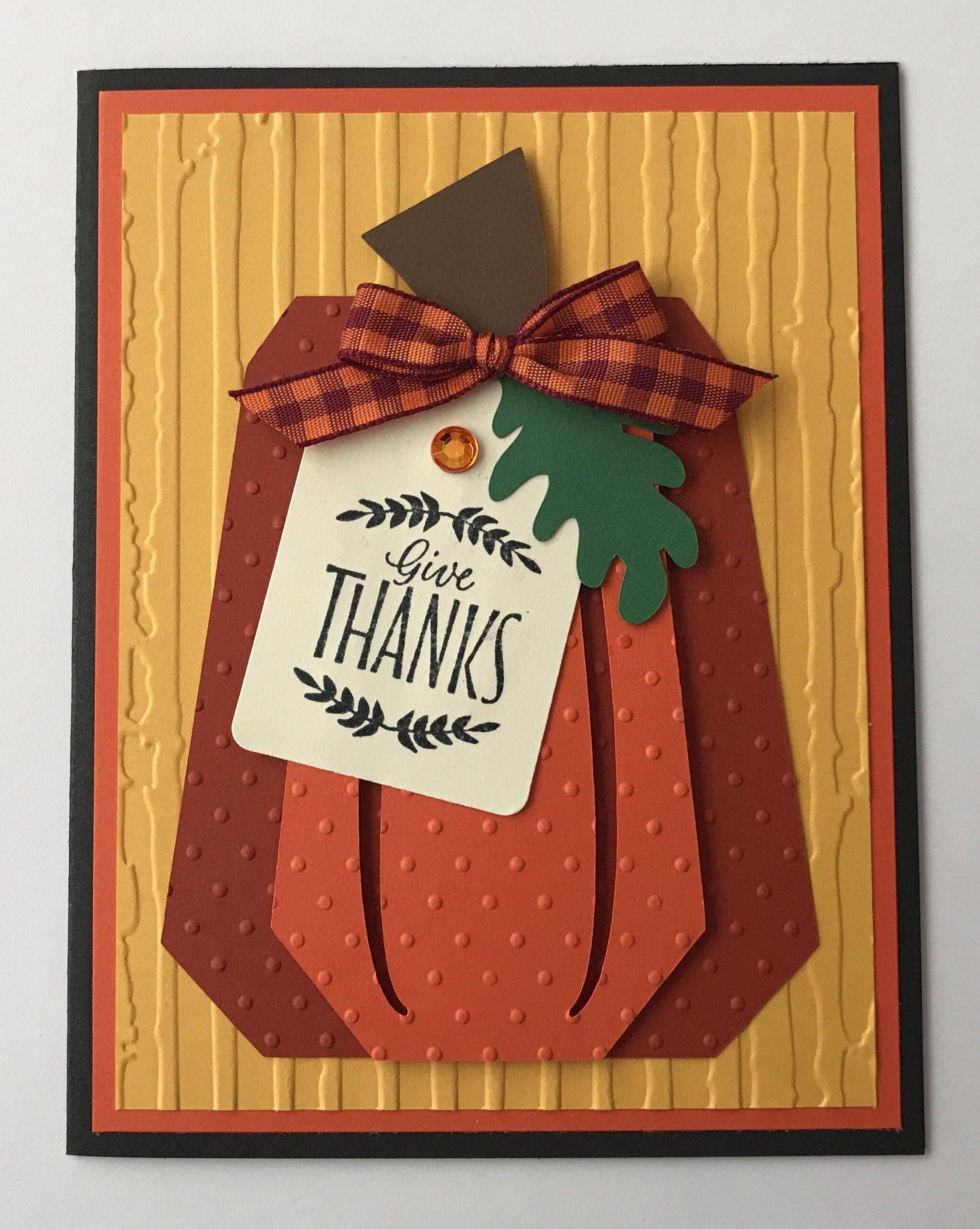Handmade Thanksgiving Card Harvest Pumpkin Thanksgiving Thankful