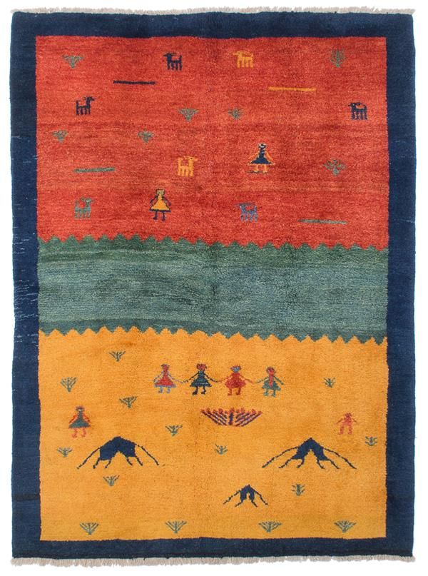 Hand Knotted Persian Gabbeh Dark Gold Red Wool Rug