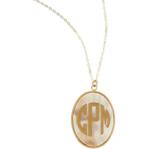 Moon & Lola Extra Large Oval Acrylic Block Monogram Pendant Necklace o0Bdg