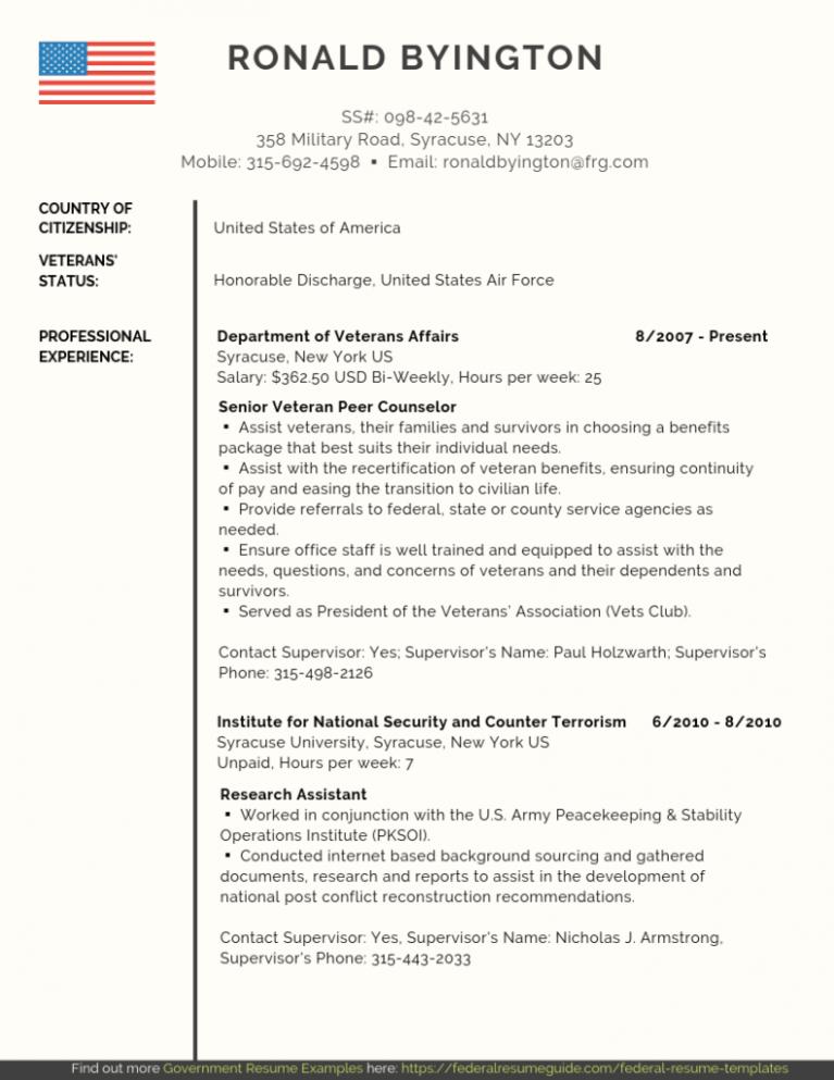 10 Federal Resume Template in 2020 Federal resume