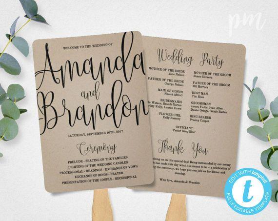 Wedding Program Fan Template Calligraphy Script Printable Instant Download DIY Ceremony Kraft Paper