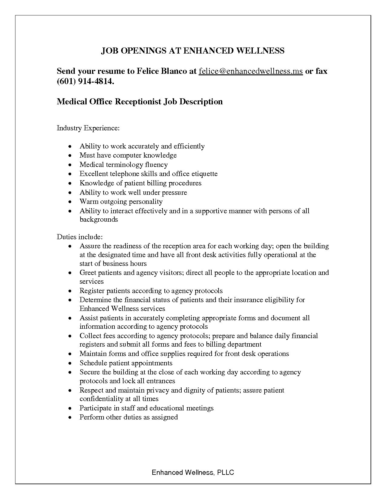 medical office front desk job description