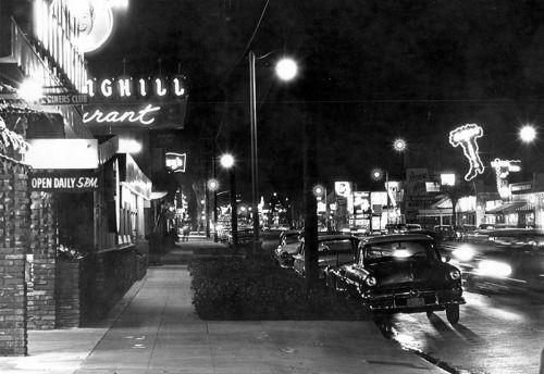 The Main Street of the San Fernando Valley at night: Ventura Boulevard, 1960.