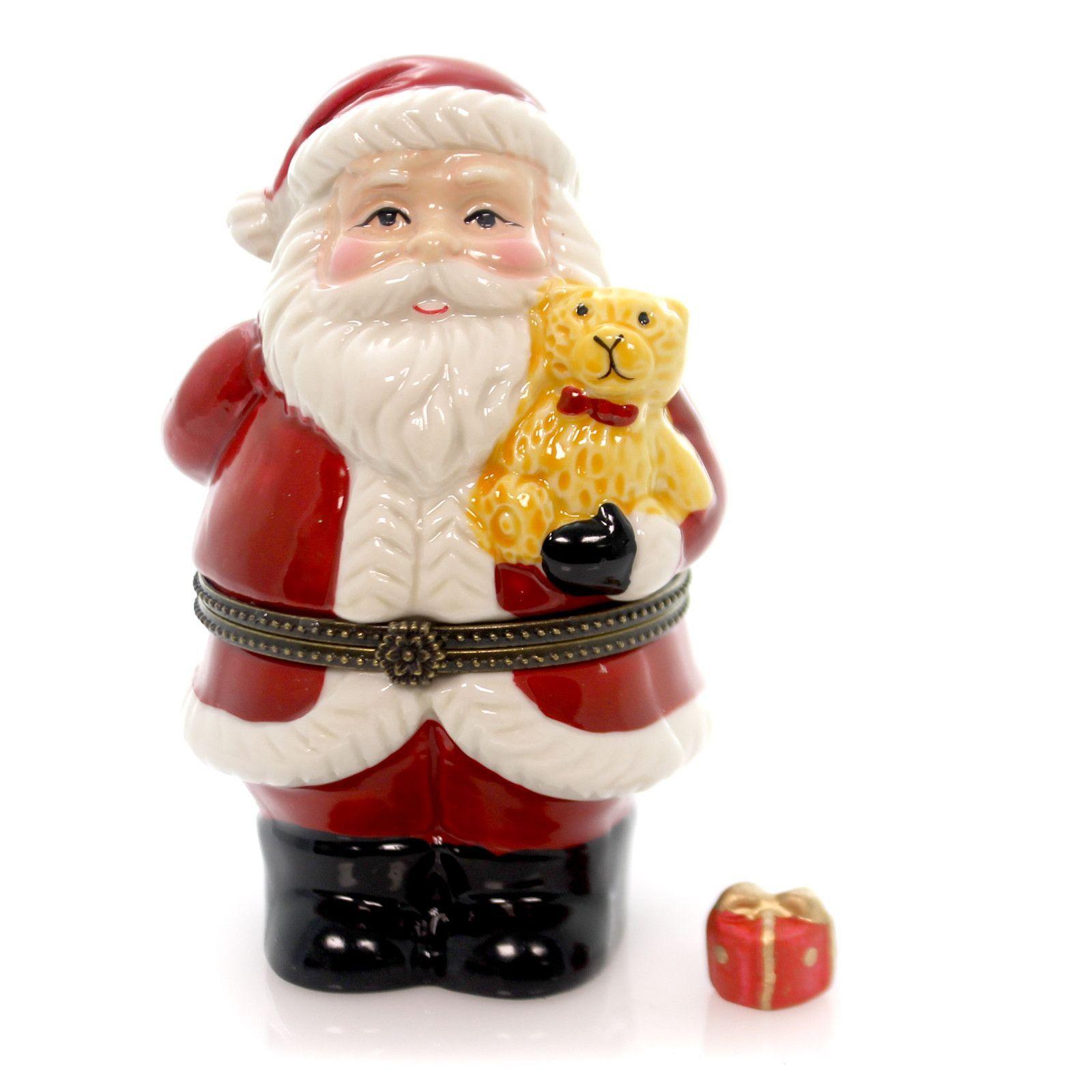 Hinged Trinket Box Santa Holding Teddybear Treasure Box Teddybear